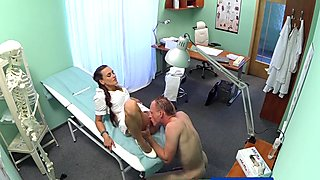 FakeHospital Patient gives his hot brunette nurse a cream pie