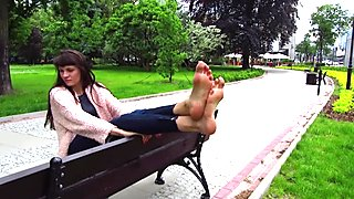 Hania showing off her size 13 feet at a park