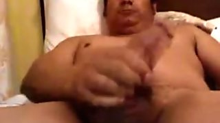 Chunky man with thick cock