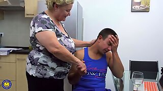 Taboo sex with big granny and boy