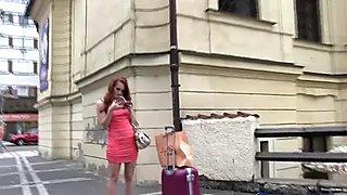 Czech - Hot redhead fuck guy hard in car park