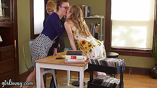 Hot Threesome At The Library With Penny Pax & Karla Kush - GIRLSWAY