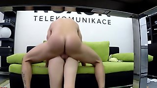 Horny slut rides her bosses hard dick