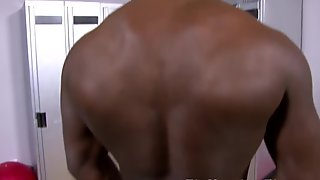 Ebony stud Tyler Price jerking his cock