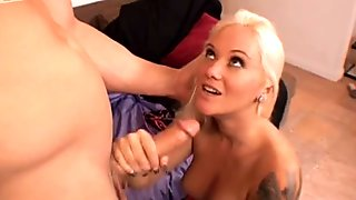 Talkative voluptuous blond head Sky Waters wins a dick for a blowjob