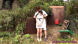 Petite Japanese teen grinding cock outdoors