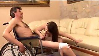 Horney  one legged man drills busty brunette slut doggystyle