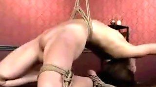 Cute little Sensi Pearl manhandled in rough bondage