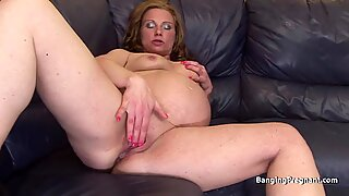 Cock hungry heavily pregnant blonde