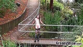 Tattooed Granny Flashing Outside