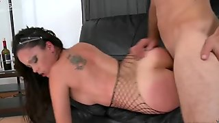 Long haired slut in stockings gets poked doggy tough