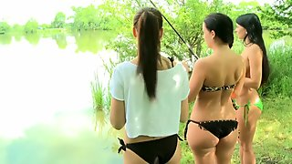 Girlfriends Three brunettes outdoor fun part two