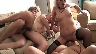 One guy fucks three horny mature moms
