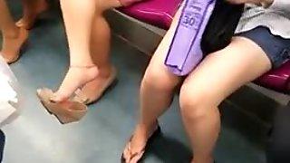 Candid Asian Feet Shoeplay Dangling pn Train