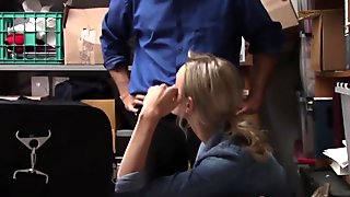 Blonde gets smashed in an office after stealing