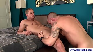 Tattooed hunk gets anally drilled