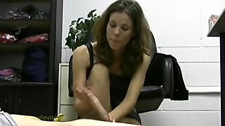 Hot lady boss jerks off her lazy employee