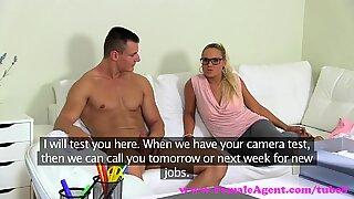FemaleAgent. Big cumshot on MILF agents stomach from sexy stud