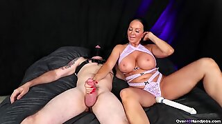 MILF Handjob while Playing with Her Pussy - Over 40 Handjobs