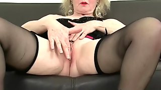 British gilf with big tits spreads her legs to masturbate