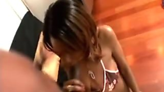 Ebony babe sucked his massive cock so good