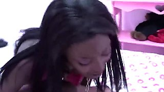 Ebony honey in pink fucked by white man