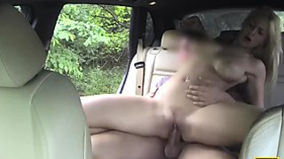 She rides his hard cock really good in the car